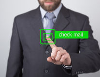 Technology, internet and networking concept. man in a black business shirt. woman presses check mail button on virtual Stock Images