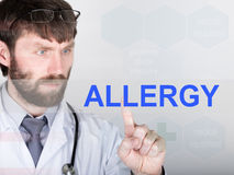 Technology, internet and networking in medicine concept - medical doctor presses allergy button on virtual screens Royalty Free Stock Image