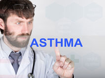 Technology, internet and networking in medicine concept - medical doctor presses asthma button on virtual screens Stock Image