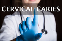 Technology, internet and networking in medicine concept - medical doctor presses cervical caries button on virtual Royalty Free Stock Photography