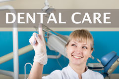 Technology, internet and networking in medicine concept - medical doctor presses dental care button on virtual screens Royalty Free Stock Image