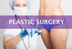 Technology, internet and networking in medicine concept - medical doctor presses plastic surgery button on virtual Stock Image