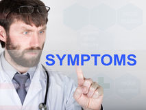 Technology, internet and networking in medicine concept - medical doctor presses symptom button on virtual screens Stock Photo