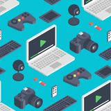 Technology isometric gadgets vector computer seamless pattern web equipment. Isometrical tools graphic communication. Digital elements. Network electronic Royalty Free Stock Images