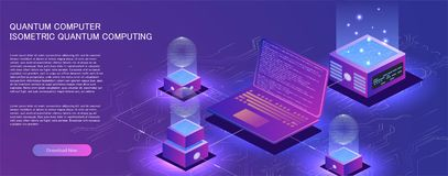Technology isometric infographic design for quantum computer, vector illustration