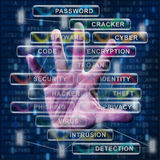 Technology and its challenges concept. With human hand and digital data symbols royalty free stock images