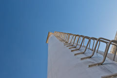 Technology ladder is welded by high pipe refinery Stock Photography