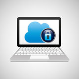 Technology laptop cloud protection safety. Vector illustration eps 10 Royalty Free Stock Photography