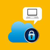 Technology laptop cloud protection safety. Vector illustration eps 10 Royalty Free Stock Photos
