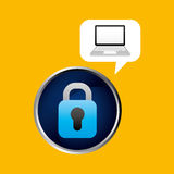 Technology laptop padlock protection safety. Vector illustration eps 10 Royalty Free Stock Photo