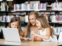 Technology in the library Royalty Free Stock Photography