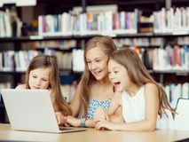 Technology in the library Royalty Free Stock Photos