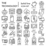 Technology line icon set, device symbols collection, vector sketches, logo illustrations, tech signs linear pictograms. Package isolated on white background royalty free illustration