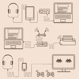 Technology line style with hardware and device. Stock Image