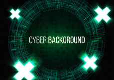 Technology with lines circles and glowing crosses background image dark green. Vector. Royalty Free Stock Photography