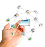 Technology links concept. Hand holding a set of icons Royalty Free Stock Image