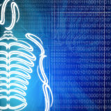Technology man. Illustration of a human skeleton on technology background Stock Photo