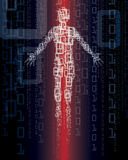 Technology Man. An illustration of a digital person on a technology binary number background Stock Images