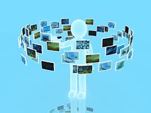 A technology man has images around his head. 3D images Royalty Free Stock Image