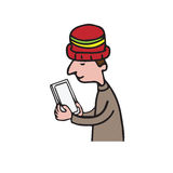 Technology man holding tablet  Royalty Free Stock Photos