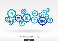 Technology mechanism concept. Abstract background with integrated gears and icons for digital, internet, network. Connect, communicate, social media and global Stock Illustration
