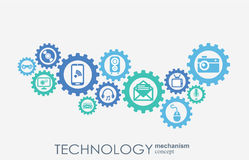 Technology mechanism concept. Abstract background with integrated gears and icons for digital, strategy, internet. Network, connect, communicate, social media Stock Image