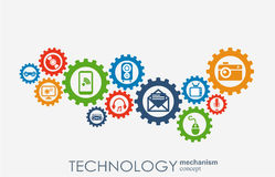 Technology mechanism concept. Abstract background with integrated gears and icons for digital, strategy, internet Stock Photo