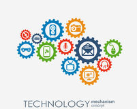 Technology mechanism concept. Abstract background with integrated gears and icons for digital, strategy, internet Stock Image
