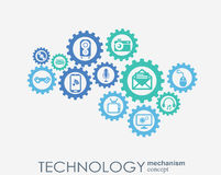 Technology mechanism concept. Abstract background with integrated gears and icons for digital, strategy, internet Royalty Free Stock Images