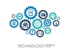 Technology mechanism concept. Abstract background with integrated gears and icons for digital, strategy, internet Stock Images