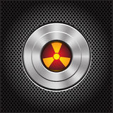 Technology metal nuclear button on dark gray mesh pattern design icon vector. Stock Photo