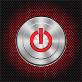 Technology metal red power energy button on circle mesh pattern design icon vector. Stock Photography