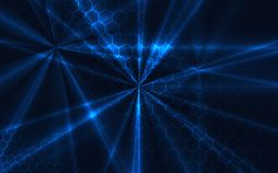Technology modern background with glowing rays, honeycombs grid,. Vector Royalty Free Stock Photo