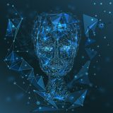 Technology modern male portrait, glowing polygonal grid, connecting triangle net, technologies concept Stock Image