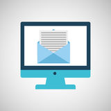 Technology monitor icon email message isolated. Illustration eps 10 Stock Photos