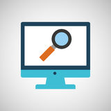 Technology monitor icon search magnifier isolated Royalty Free Stock Image
