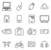 Technology or Multimedia or Gadget Icons Thin Line Vector Illustration Set Royalty Free Stock Photography