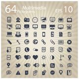 Technology multimedia symbols set Stock Photography