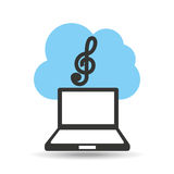 Technology music cloud treble clef Royalty Free Stock Photography