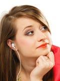 Technology, music - teen girl in earphones Royalty Free Stock Photography