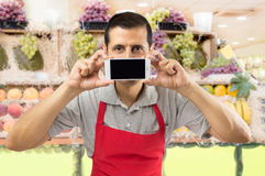 Technology at my greengrocery Stock Images