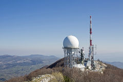 Technology and nature on the summit Stock Photo