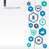 Technology network. Hexagon abstract background Royalty Free Stock Photo