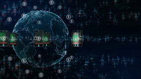Technology Network with phone and holographic information royalty free stock images