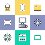 Technology and networking pictogram icons set Stock Photo