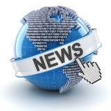 Technology news symbol with digital globe, 3d Royalty Free Stock Images