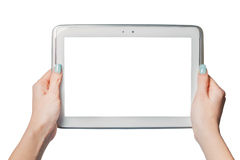 Technology, online shopping, girl holding a tablet Royalty Free Stock Photo
