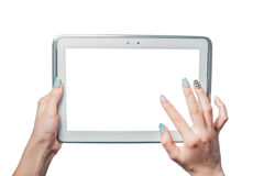 Technology, online shopping, girl holding a tablet Royalty Free Stock Image