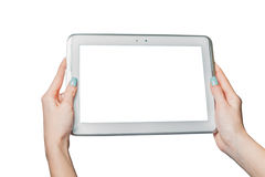 Technology, online shopping, girl holding a tablet Royalty Free Stock Images