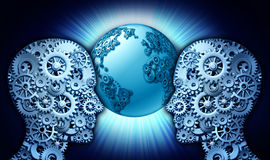 Technology Partnership. Business concept as a group of gears and cog wheels shaped as two people looking into a world globe made of cogs as a symbol of Stock Image